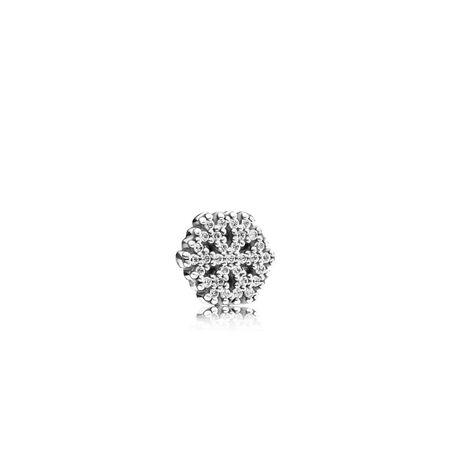 Sparkling Snowflake Petite Locket Charm, Sterling silver, Cubic Zirconia - PANDORA - #792166CZ