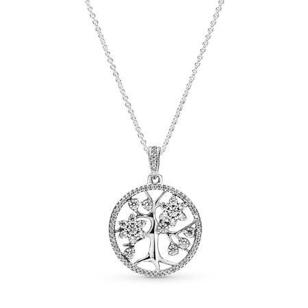 Sparkling Family Tree Necklace, Sterling silver, Cubic Zirconia - PANDORA - #390384CZ