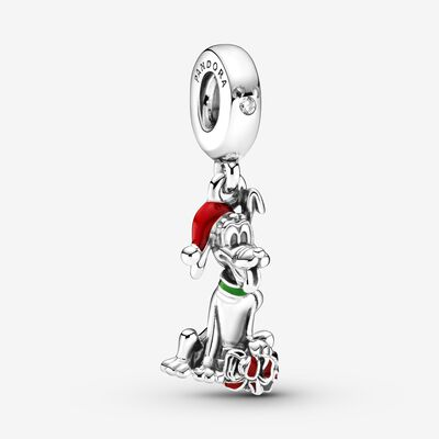 Disney Pluto Christmas Gift Charm , Silver