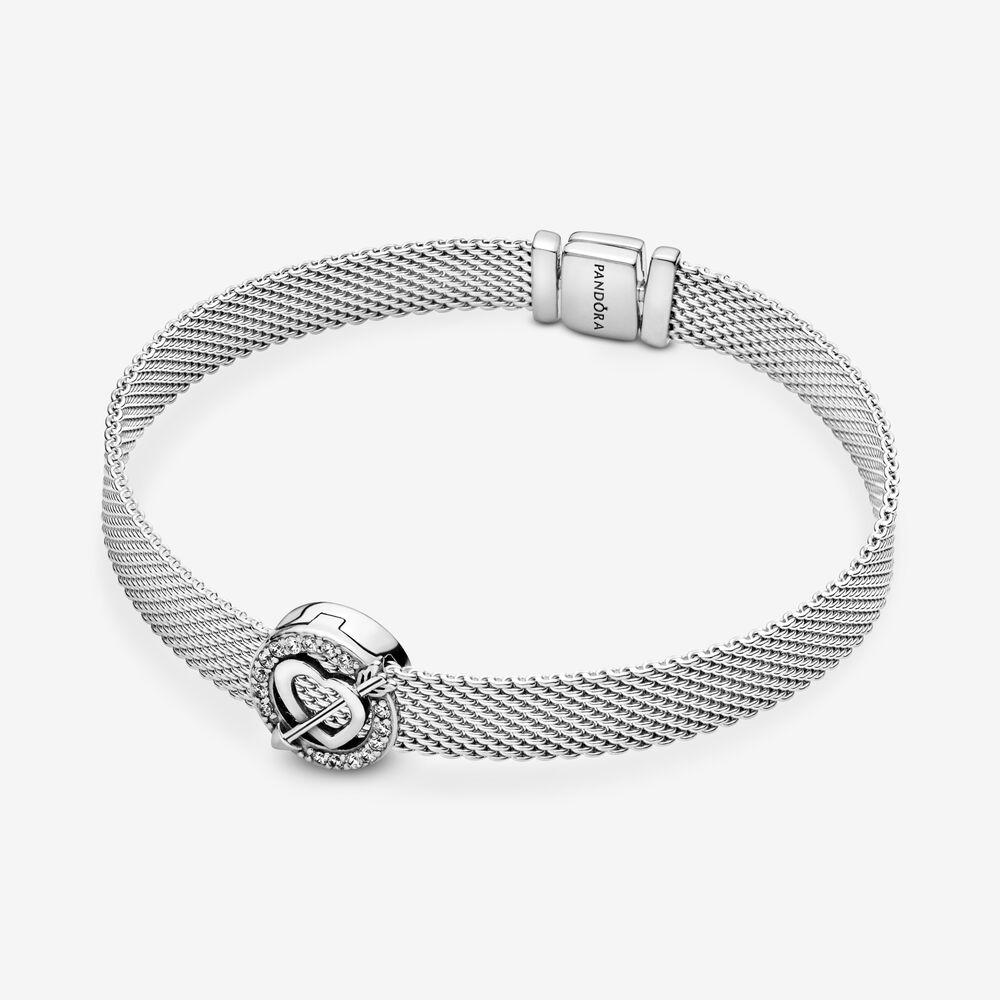 Asymmetric Heart & Arrow Charm Clip | Sterling silver | Pandora US