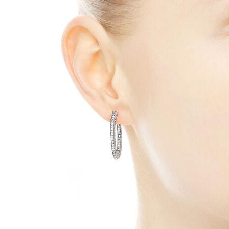 Hearts of PANDORA Hoop Earrings, Clear CZ