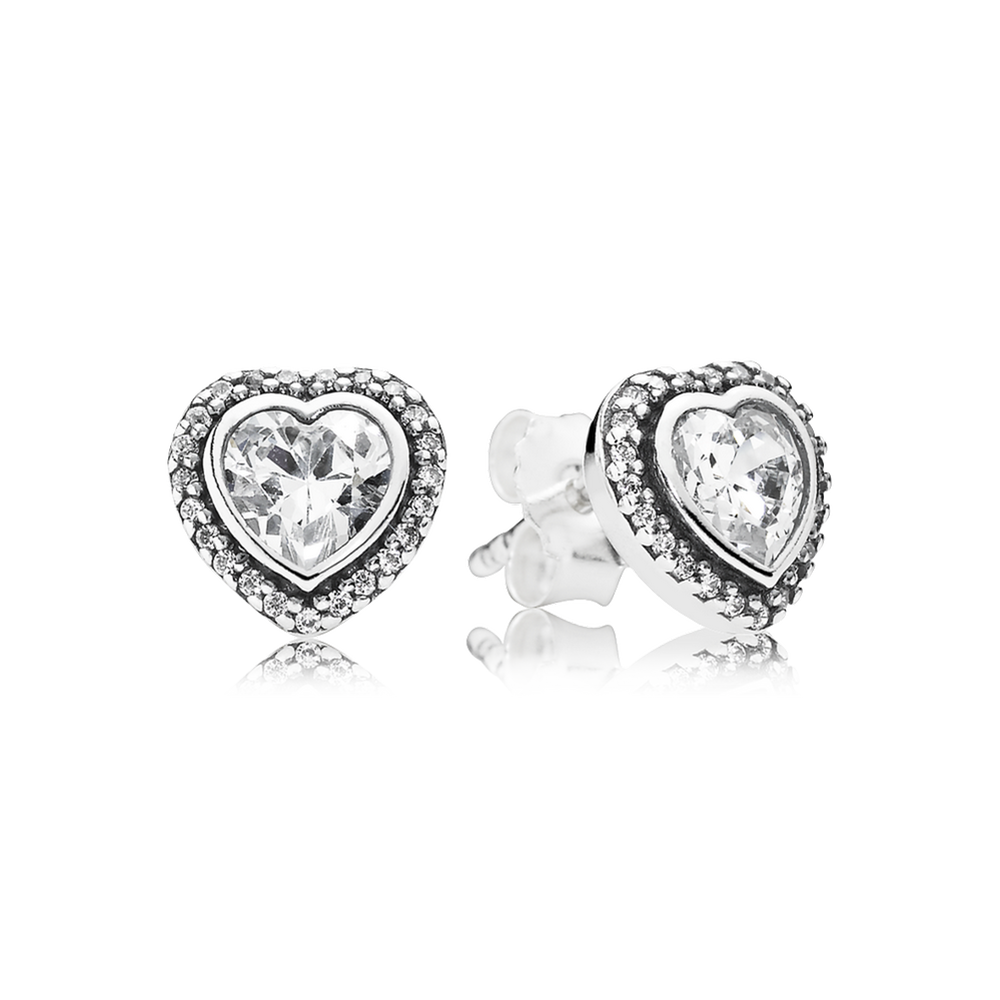 Earrings Pandora Button 290736CZ Woman Silver Heart Zirconia 9uuJVSiPx