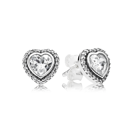 Sparkling Love Stud Earrings, Clear CZ