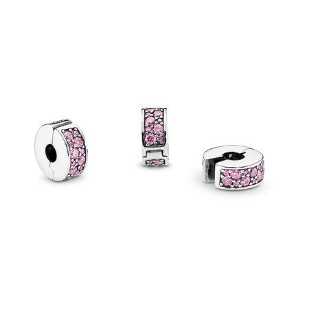 Shining Elegance Clip, Pink CZ, Sterling silver, Silicone, Pink, Cubic Zirconia - PANDORA - #791817PCZ