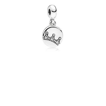 Dazzling Crown Dangle Charm, Clear CZ