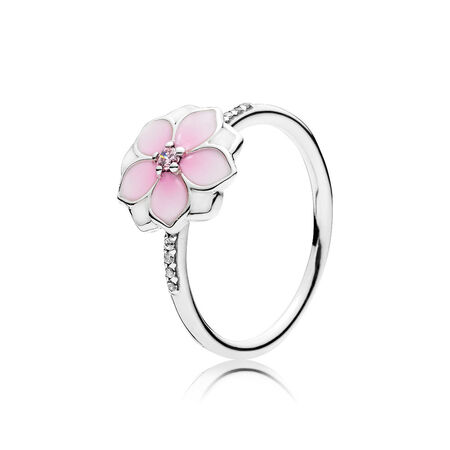 Magnolia Bloom Ring, Pale Cerise Enamel & Pink CZ