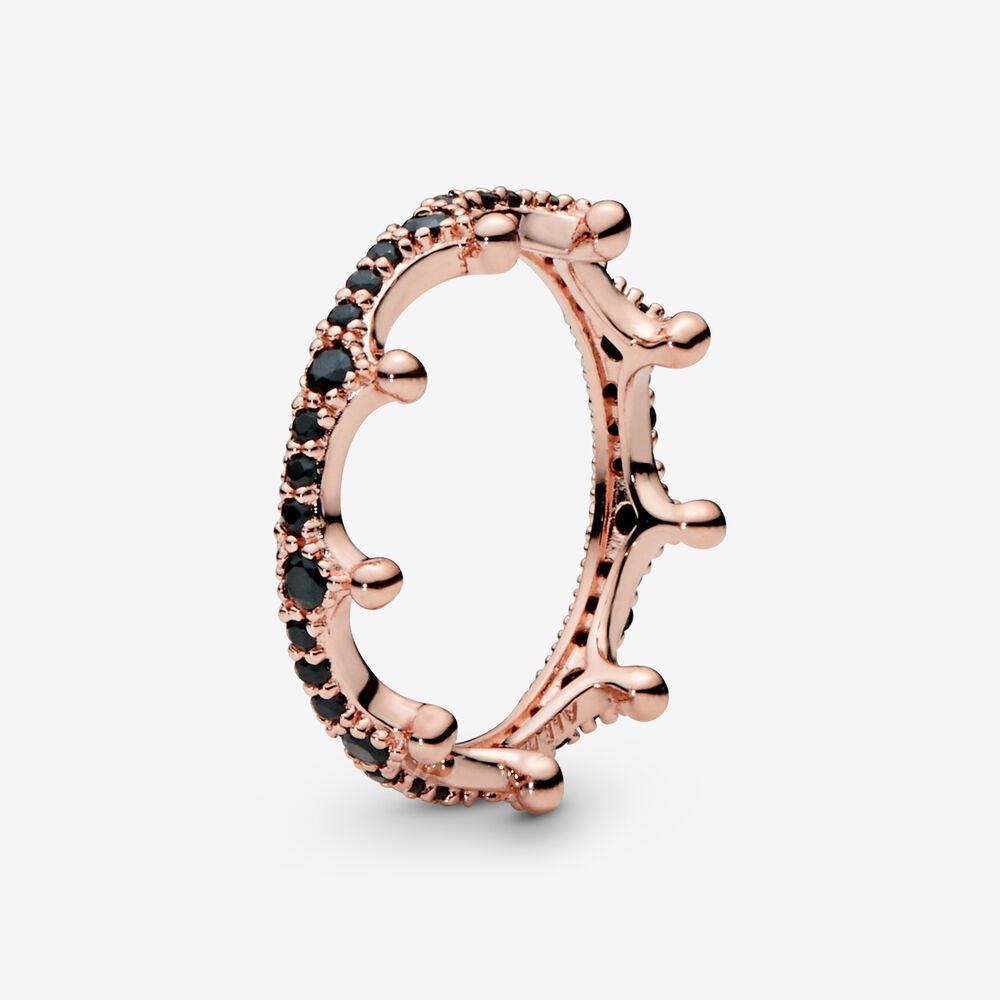 Black Sparkling Crown Ring