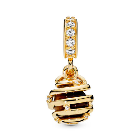 Sweet As Honey Dangle Charm, PANDORA Shine™, Tiger Eye & Clear CZ, 18ct Gold Plated, Mixed stones - PANDORA - #767044CZ
