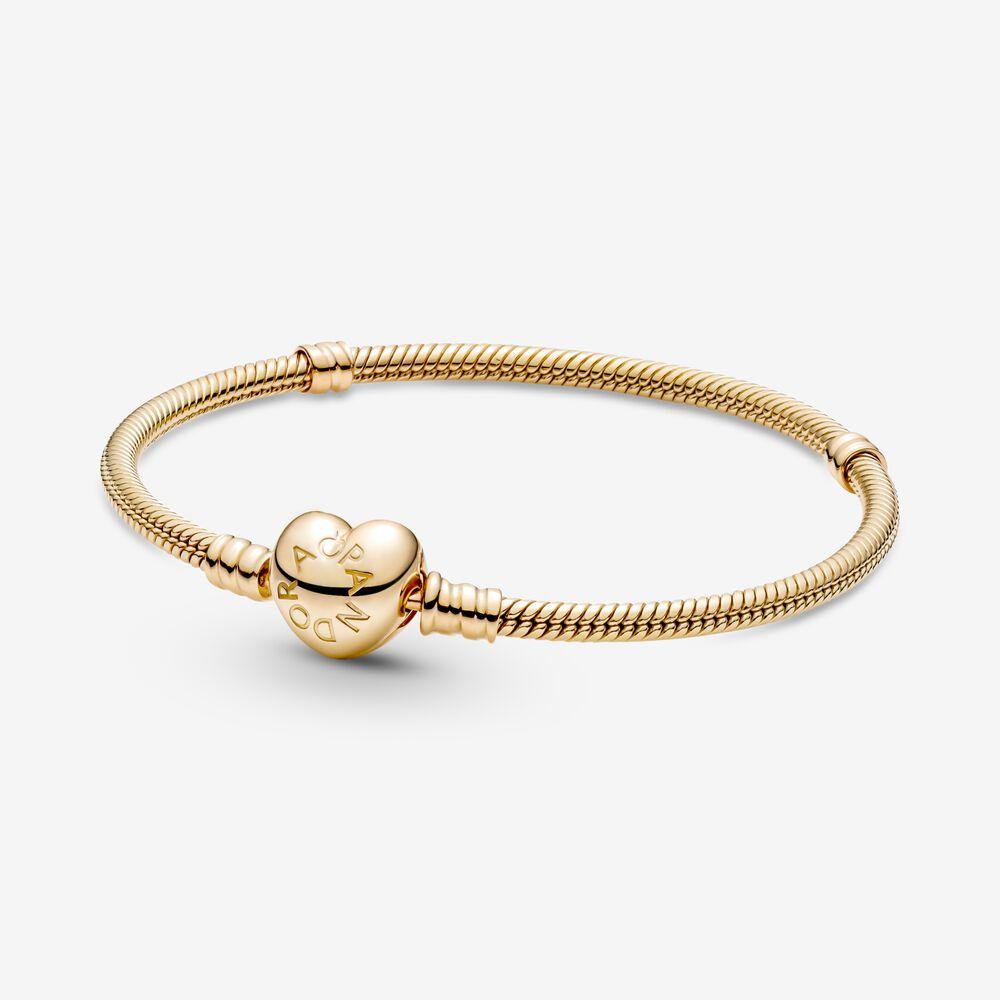 Pandora Moments Heart Clasp Snake Chain Bracelet | Gold | Pandora US