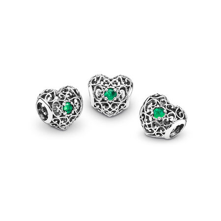 May Signature Heart Charm, Royal Green Crystal