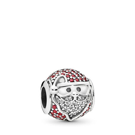 Sparkling Jolly Santa Charm, Red & Clear CZ, Sterling silver, Red, Cubic Zirconia - PANDORA - #796385CZR