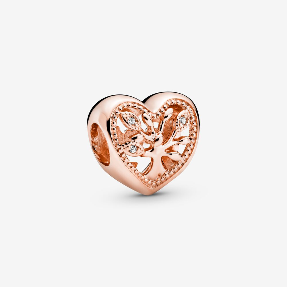 Openwork Family Tree Heart Charm   Rose gold plated   Pandora US