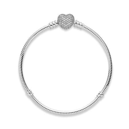 Pavé Heart Bracelet, Clear CZ