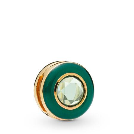 Pandora Reflexions™ Radiant Green Circle Clip Charm, 18ct Gold Plated, Enamel, Green, Crystal - PANDORA - #767891NMG