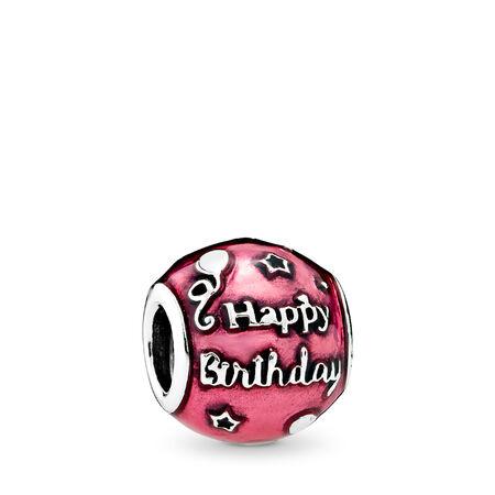 Birthday Celebration Charm, Transparent Cerise Enamel