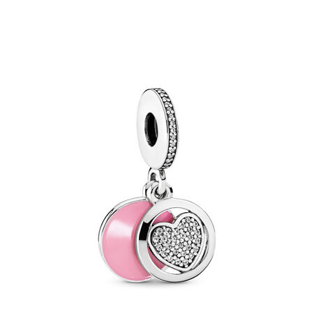 Devoted Heart Dangle Charm, Pink Enamel & Clear CZ