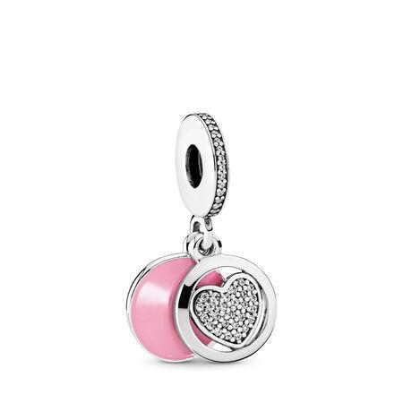 Devoted Heart Dangle Charm, Pink Enamel & Clear CZ, Sterling silver, Enamel, Pink, Cubic Zirconia - PANDORA - #792149EN24