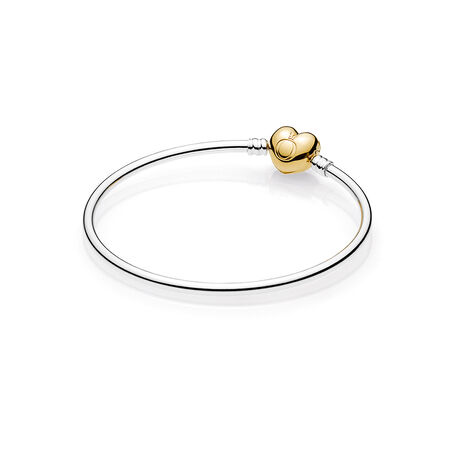 Moments Silver Bangle Bracelet, PANDORA Shine™ Logo Heart Clasp