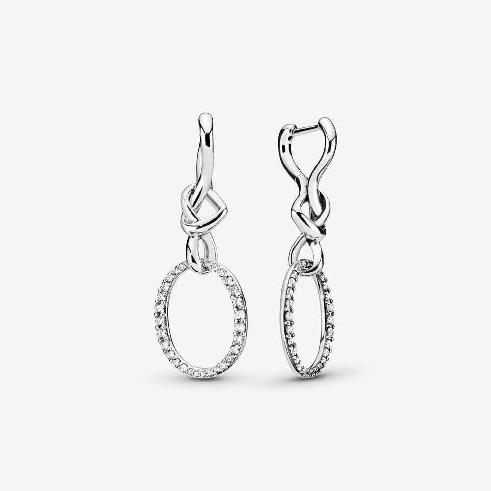 Oval Knotted Heart Drop Earrings