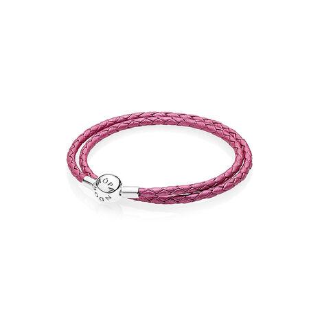 Honeysuckle Pink Leather Charm Bracelet, Sterling silver, Leather, Pink - PANDORA - #590734CHP-D