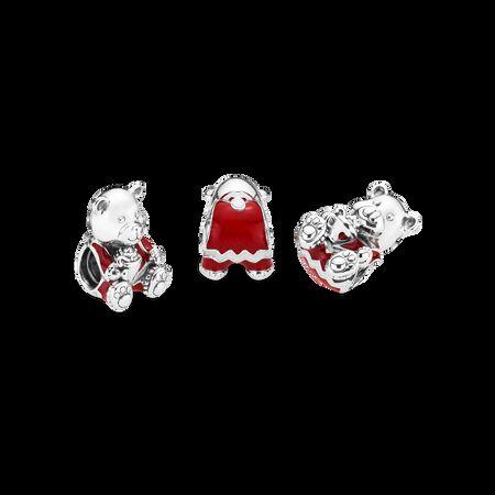 Christmas Bear Charm, Red & White Enamel