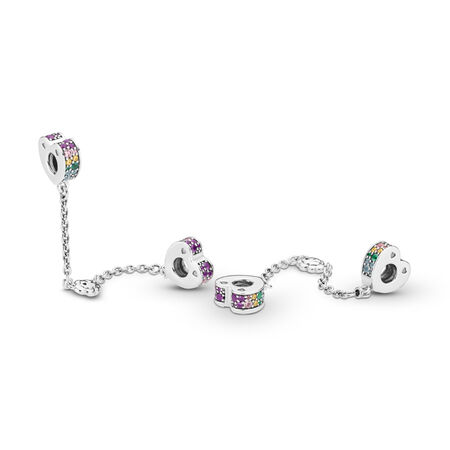 Multi-Colored Arcs of Love Safety Chain, Multi-Colored CZ & Crystals