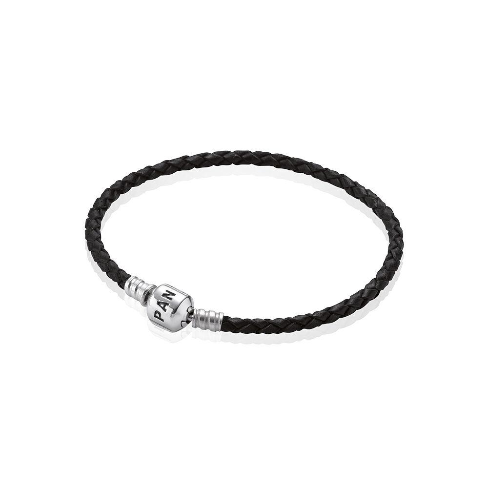 pandora black braided leather charm bracelet