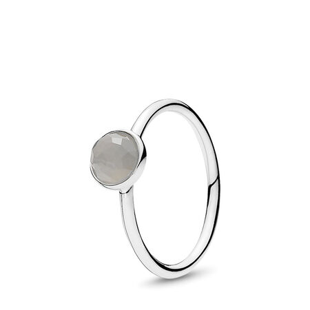 June Droplet Ring, Grey Moonstone