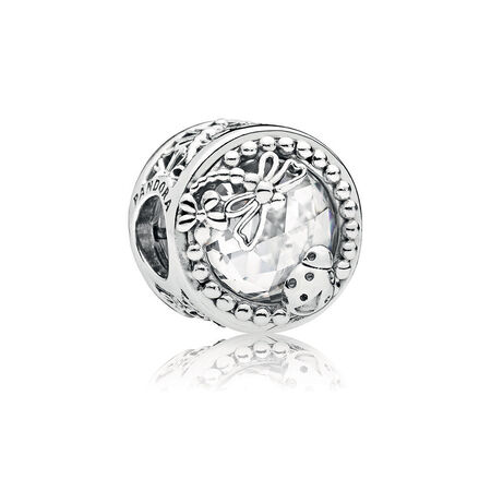 Enchanted Nature Charm, Clear CZ