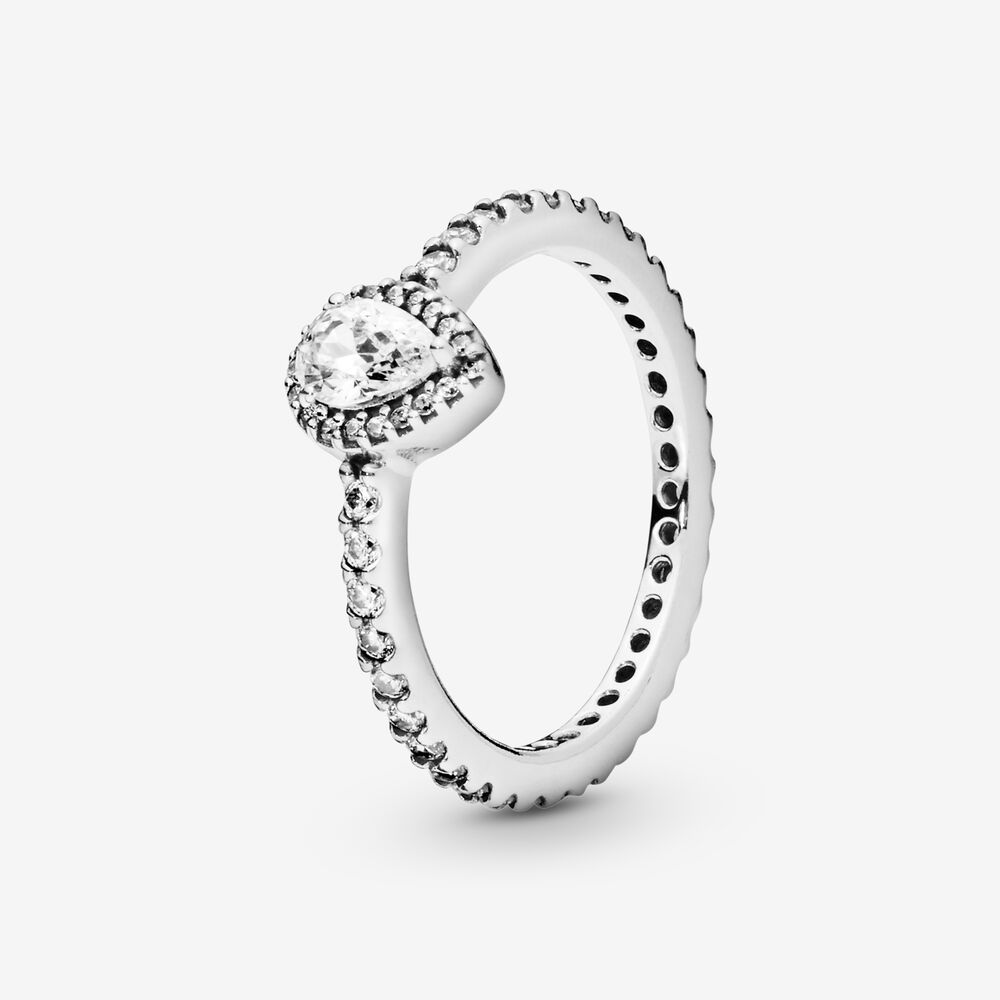 Classic Teardrop Halo Ring