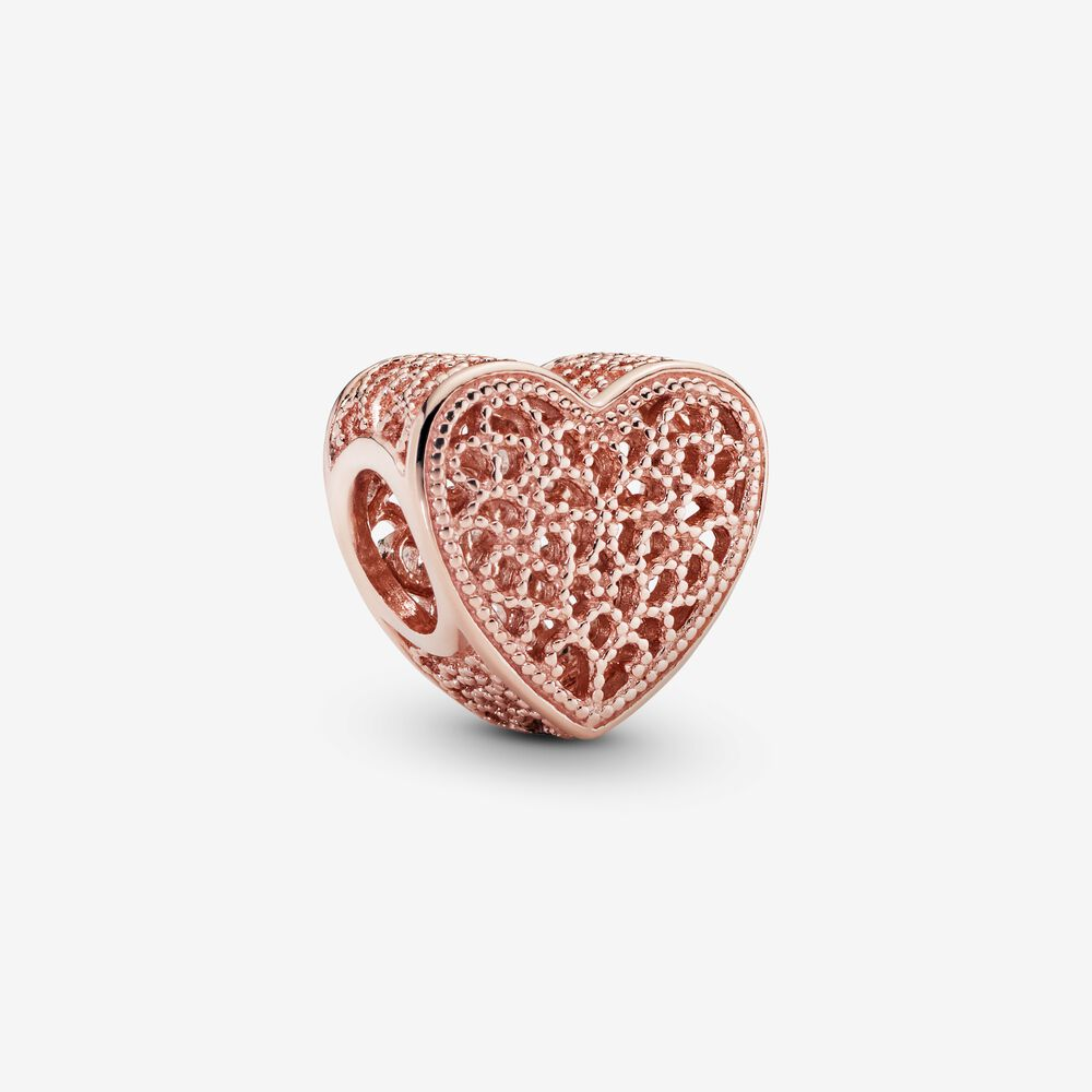 Filled with Romance Heart Charm in Pandora Rose™ | Rose gold ...