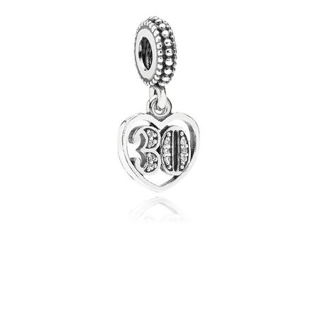 30 Years Of Love Dangle Charm, Clear CZ