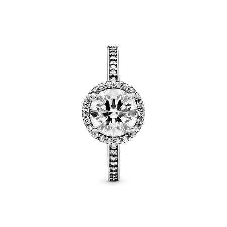 Round Sparkle Ring, Sterling silver, Cubic Zirconia - PANDORA - #196250CZ