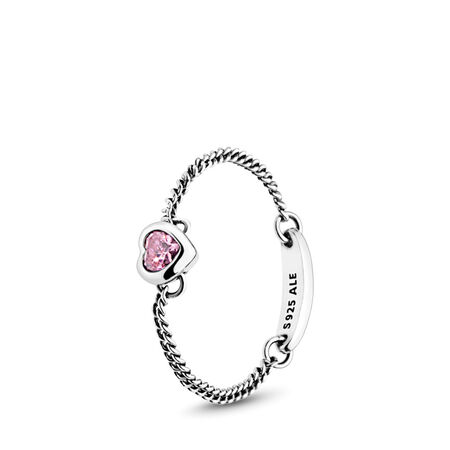 Spirited Heart Ring, Pink CZ