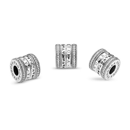 Spinning Hearts of PANDORA Charm, Clear CZ, Sterling silver, Cubic Zirconia - PANDORA - #797402CZ