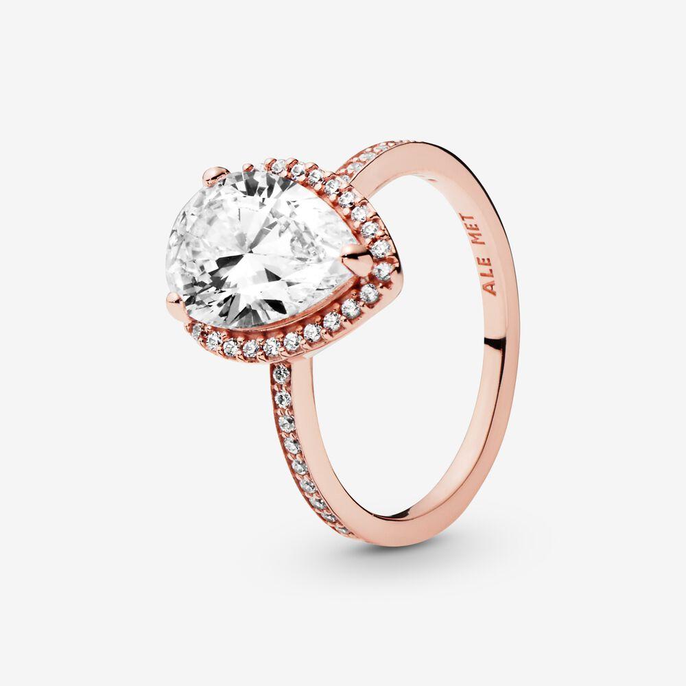 Sparkling Teardrop Halo Ring   Rose gold plated   Pandora US