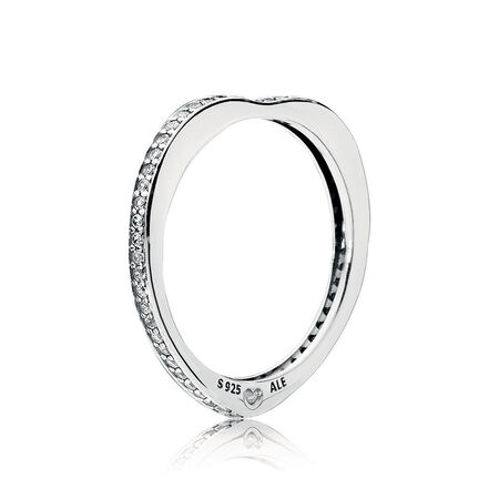 Sparkling Arcs of Love Ring, Clear CZ