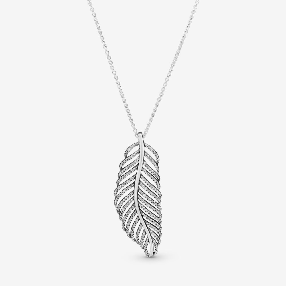Shimmering Feather Pendant Necklace
