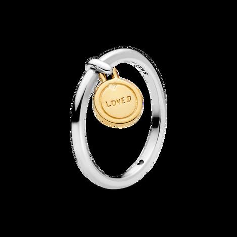 Loved Script Medallion Ring