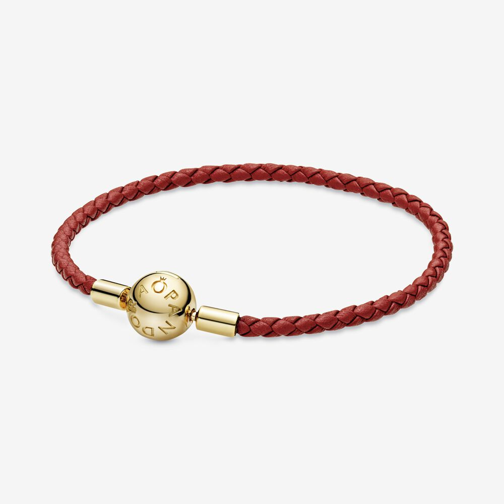 Pandora Moments Red Woven Leather Bracelet | Gold plated | Pandora US