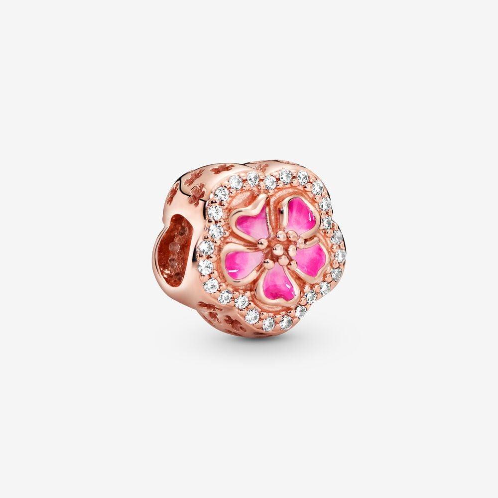 Sparkling Peach Blossom Flower Charm
