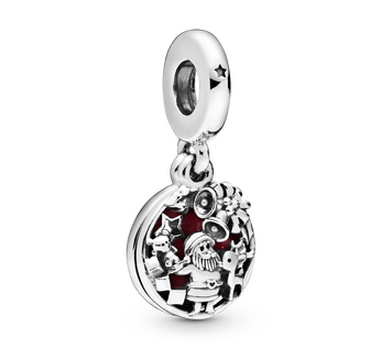 Santa Claus sterling silver dangle with shimmering burgundy enamel
