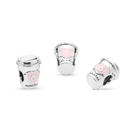 Drink To Go Charm, Pink Enamel