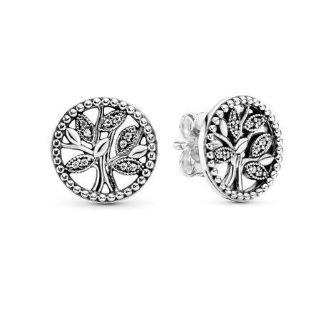 Pandora Trees of Life Stud Earrings, Sterling silver, Cubic Zirconia - PANDORA - #297843CZ