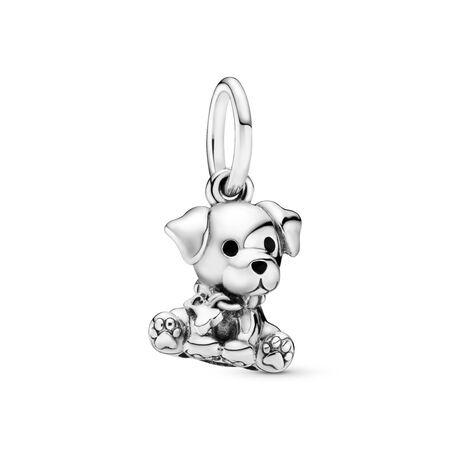 Labrador Puppy Dangle Charm, Sterling silver, Enamel, Black - PANDORA - #798009EN16