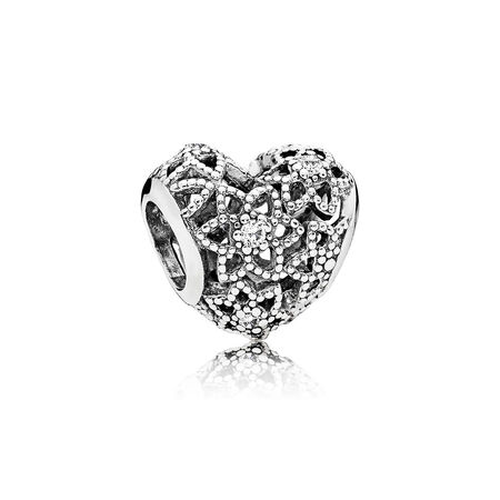 Blooming Heart Charm, Clear CZ