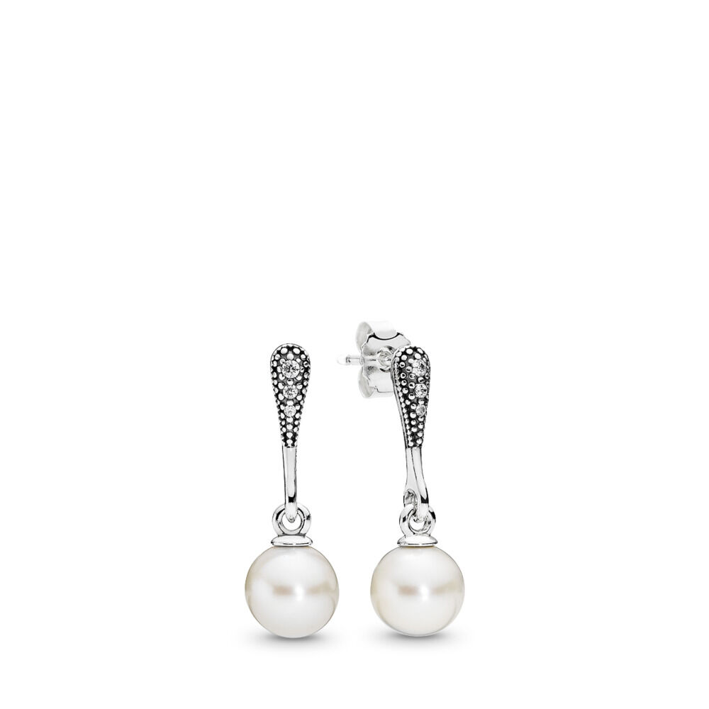 12da41ff7 Elegant Beauty Drop Earrings, White Pearl & Clear CZ