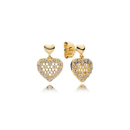 Honeycomb Lace Dangle Earrings, PANDORA Shine™ & Clear CZ