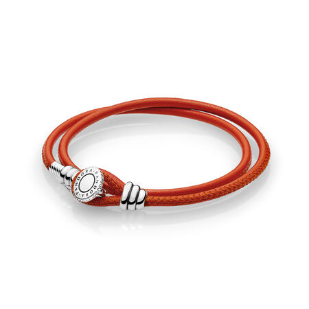 Spicy Orange Double Leather Bracelet, Clear CZ, Sterling silver, Leather, Orange, Cubic Zirconia - PANDORA - #597194CSO-D
