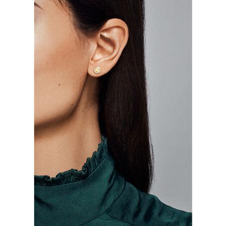 Sweet Statements Stud Earrings, PANDORA Shine™ & Silver Enamel, 18ct Gold Plated, Enamel, Silver - PANDORA - #267275EN23